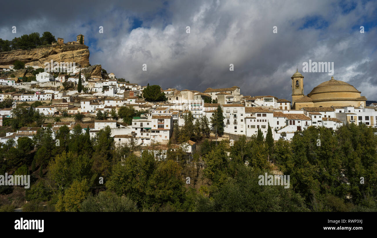 Whitewash houses on a hillside in the town of Montefrio; Montefrio, Province of Granada, Spain - Stock Image