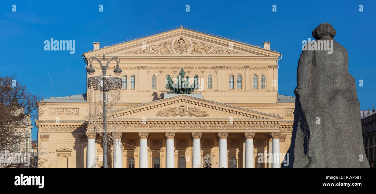 Bolshoi Theatre and Karl Marx monument, Moscow, Russia - Stock Image