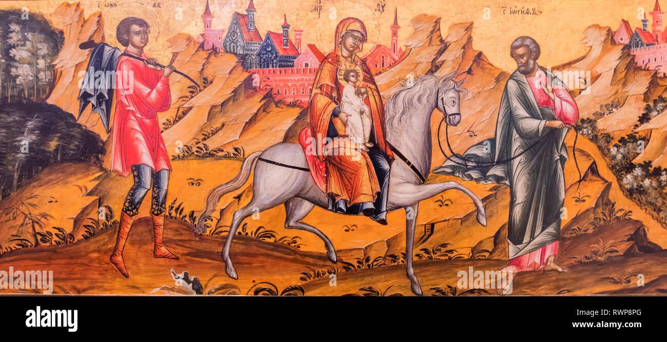 Flight to Egypt icon, 18th century, Palekh, Ivanovo region, Russia - Stock Image