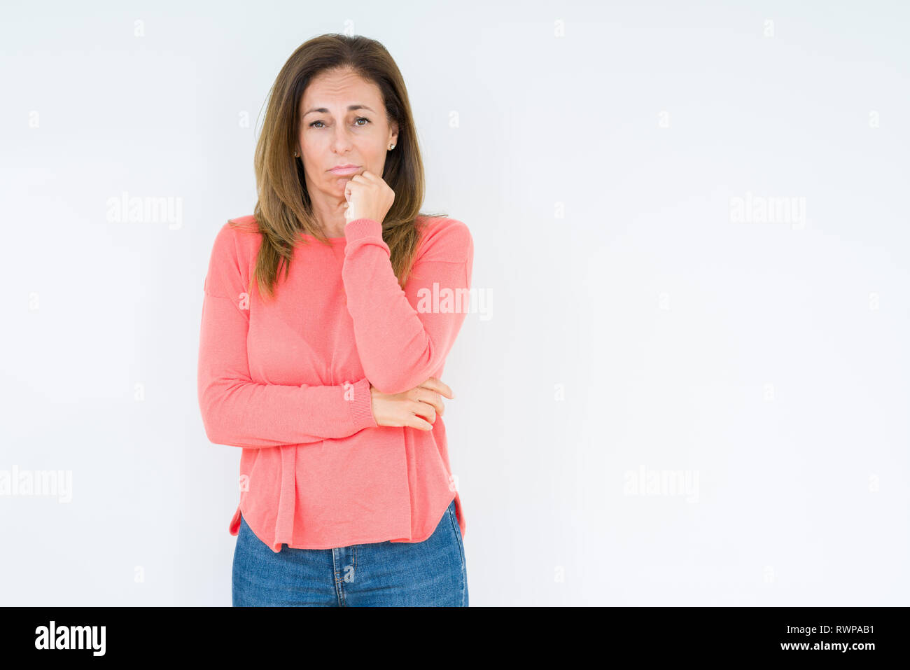 f3007741e Beautiful middle age woman over isolated background thinking looking tired  and bored with depression problems with crossed arms.