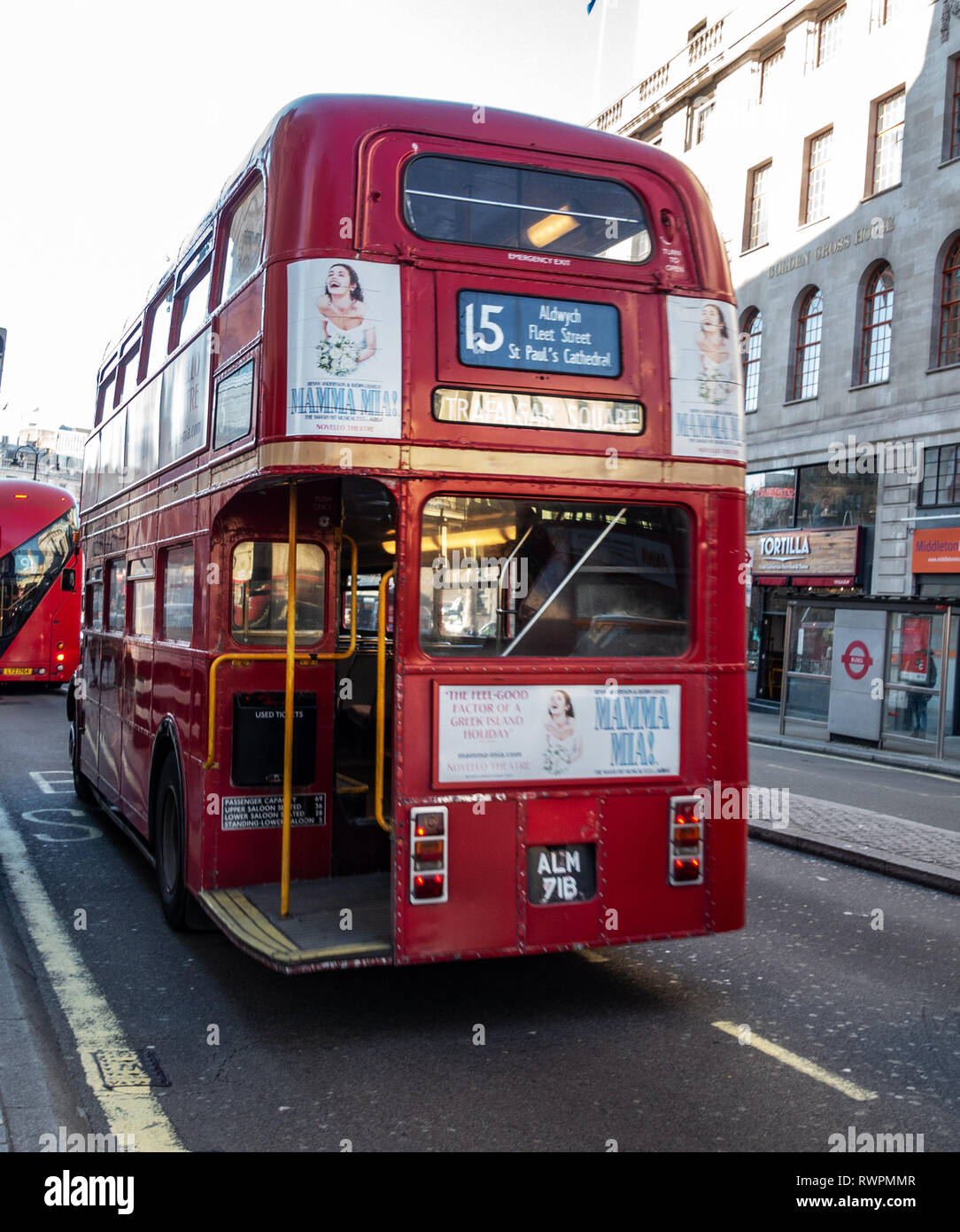 Rear of Service Number 15 One of the last London Vintage Routemaster buses still in service on the streets Trafalgar Square, London, England - Stock Image