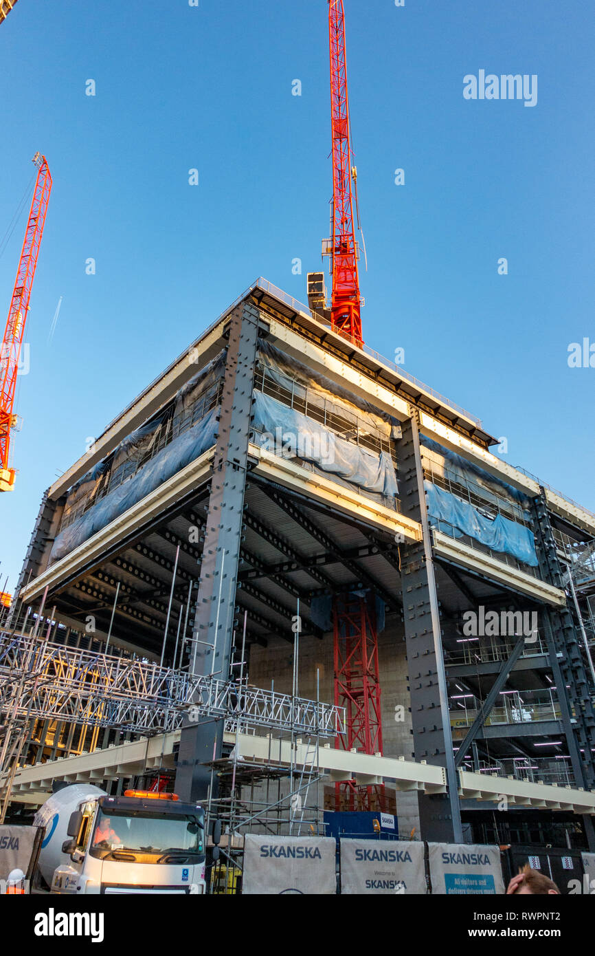 Skanska AB is a multinational construction of the shell and core of the new St Giles Circus Development building in Charing Cross Road, London Stock Photo