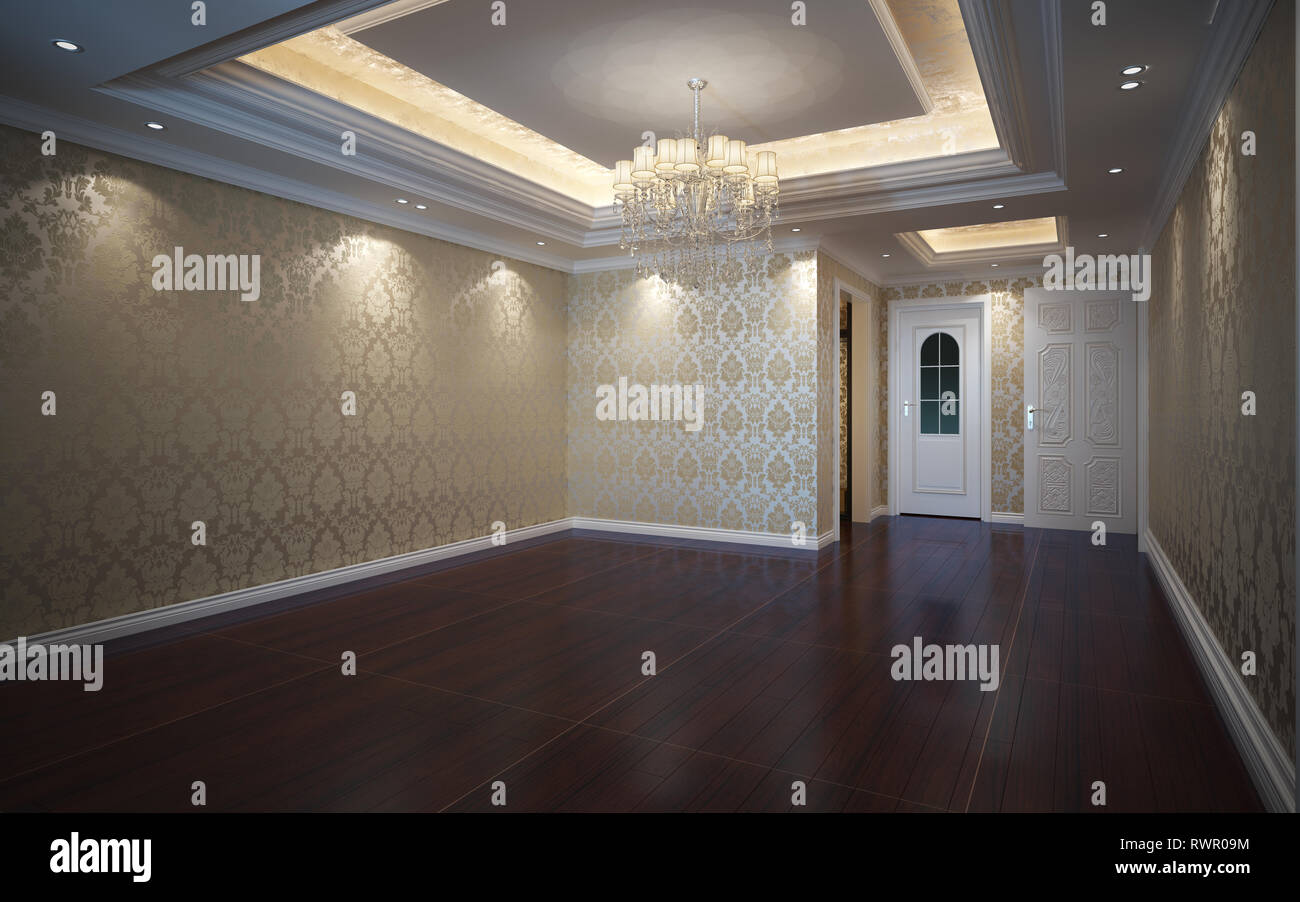 3d Illustration Beautiful Bright Warm Room, Decorated with Parquet Floor Stock Photo