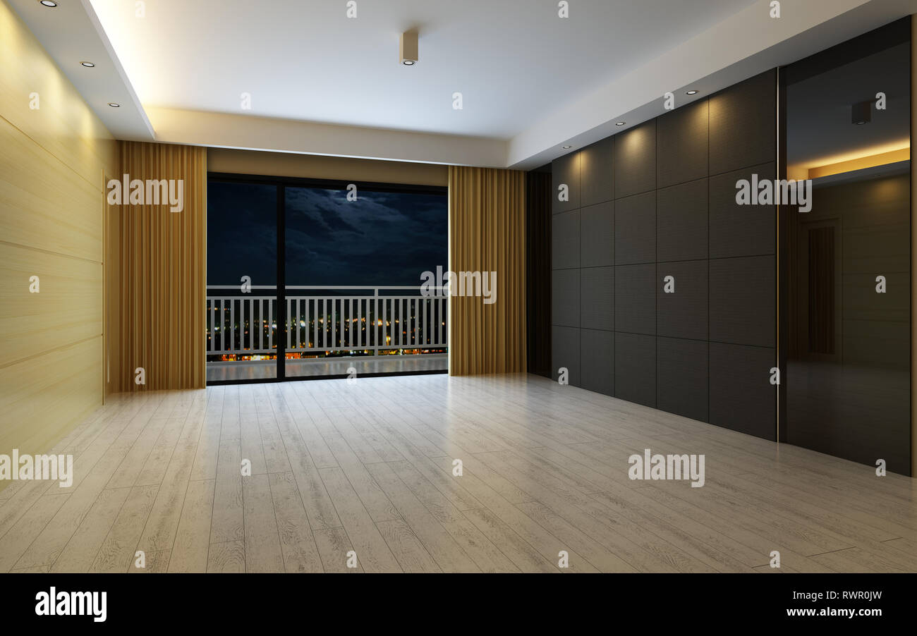 3d Illustration Beautiful Bright Warm Room, Decorated with Curtain and Parquet Floor - Stock Image
