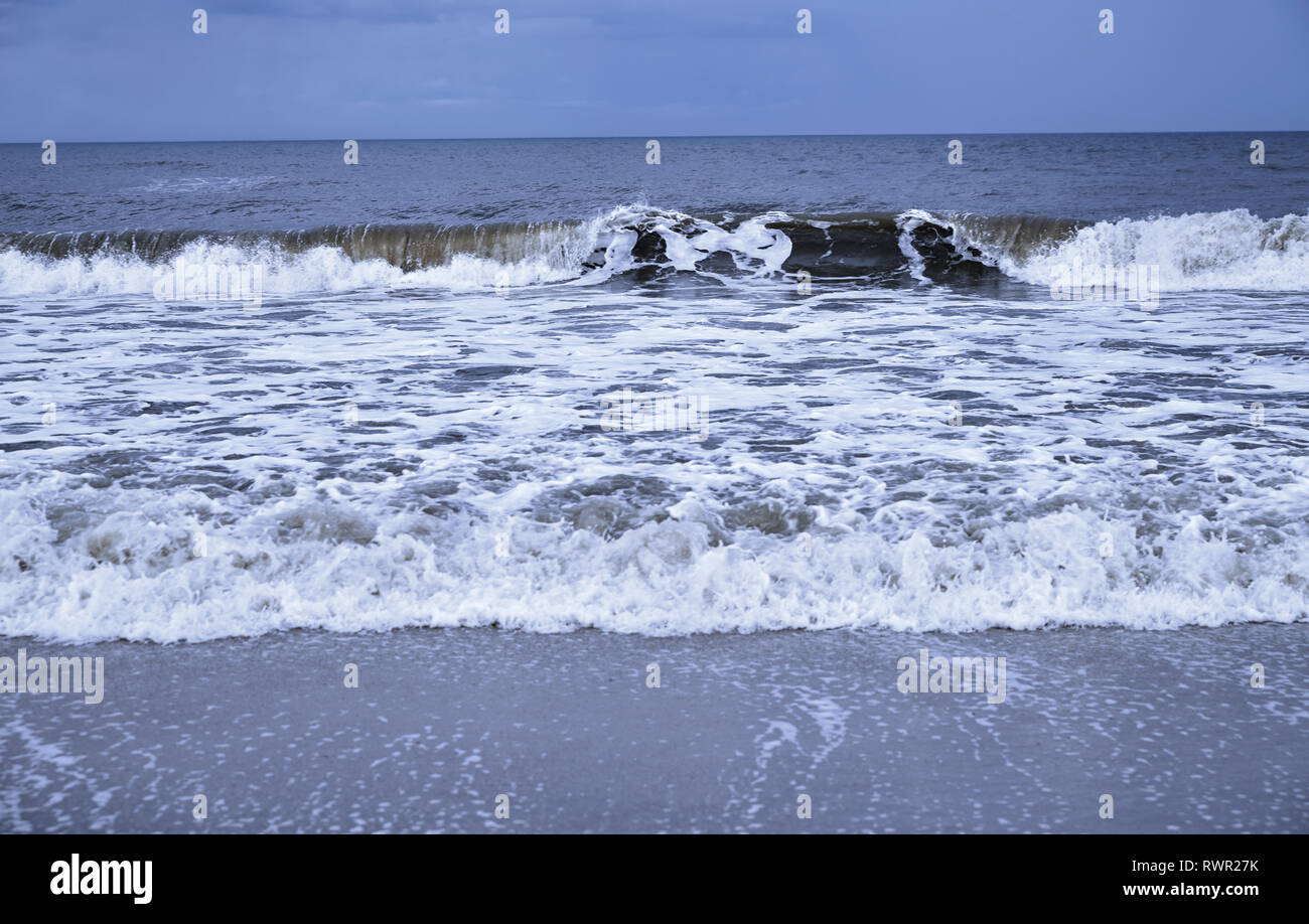 Rough water and waves in Pacific Ocean Stock Photo
