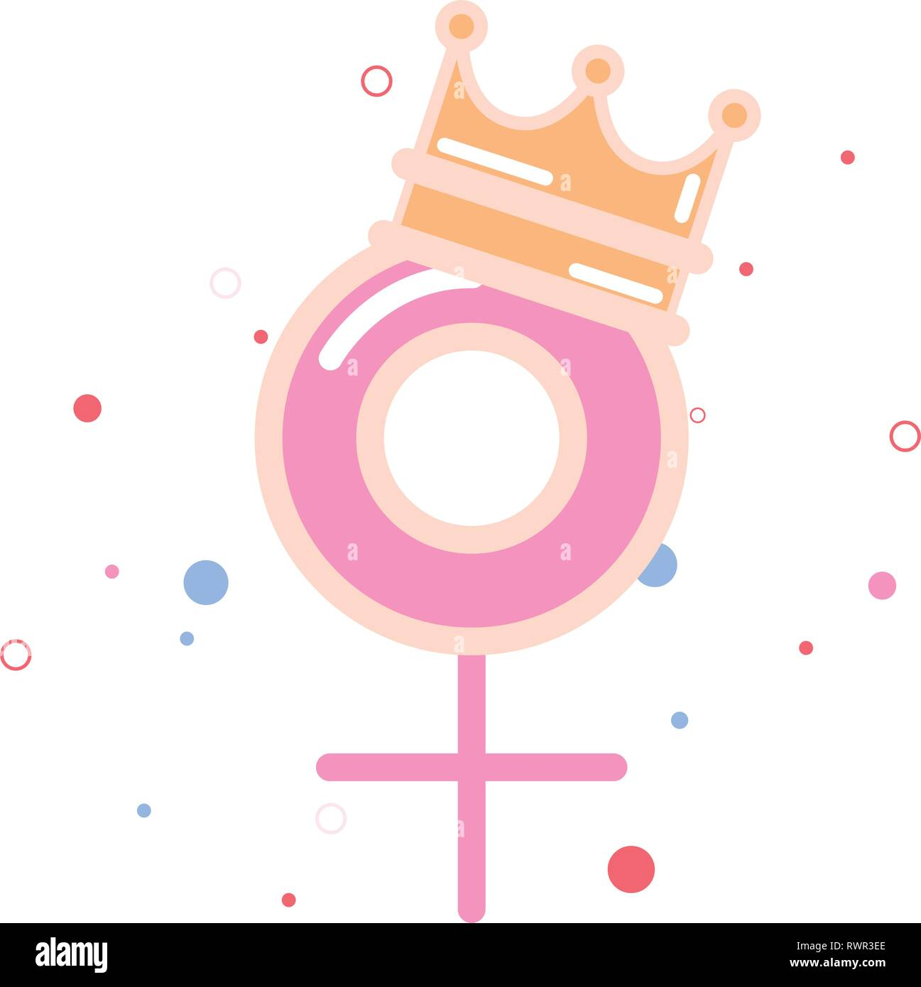 gender feminism with crown girl power vector illustration - Stock Image