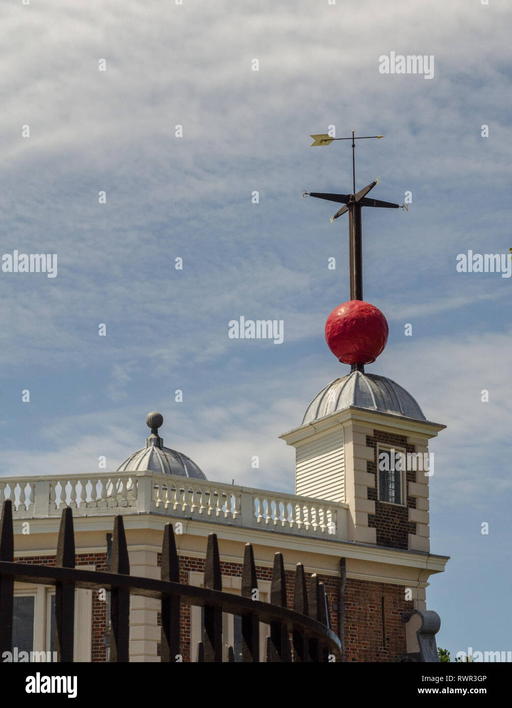 The Time Ball just after dropping (1:00 PM) at the Royal Observatory, Greenwich, London, England. - Stock Image