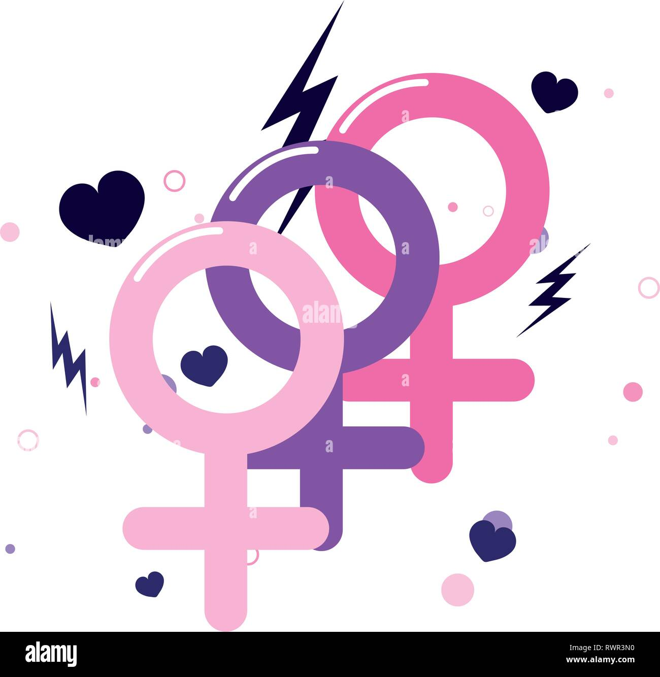 gender feminism signals girl power vector illustration - Stock Image