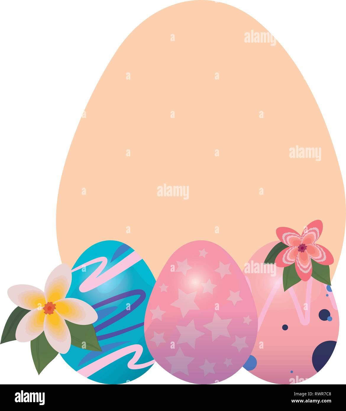 egg decorating badge template happy easter vector illustration - Stock Vector