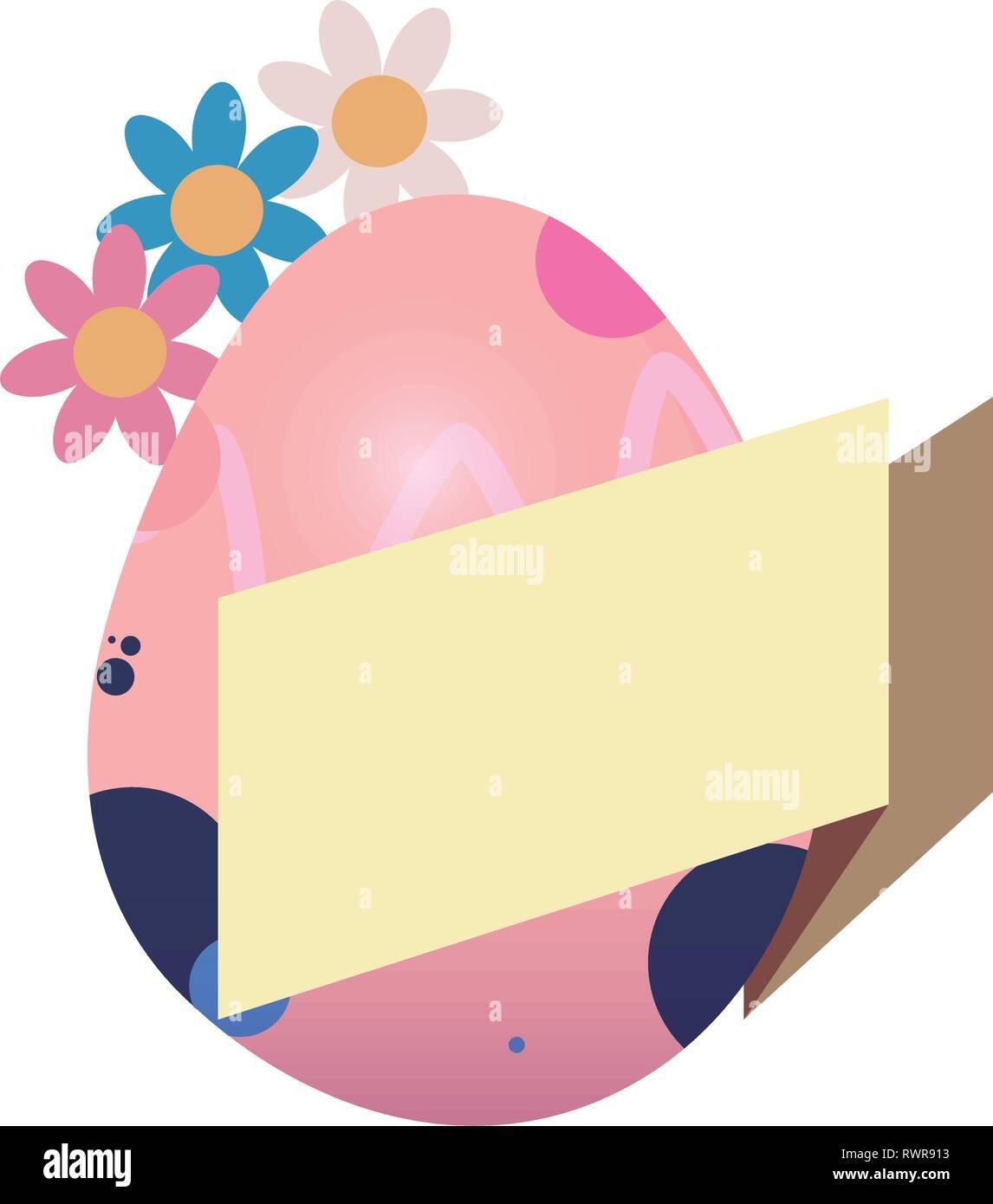 egg decorating banner flowers happy easter vector illustration - Stock Vector