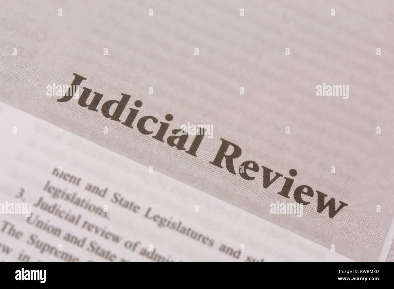 Maski,Karnataka,India - JANUARY,09,2019 : Judicial review printed on paper. - Stock Image