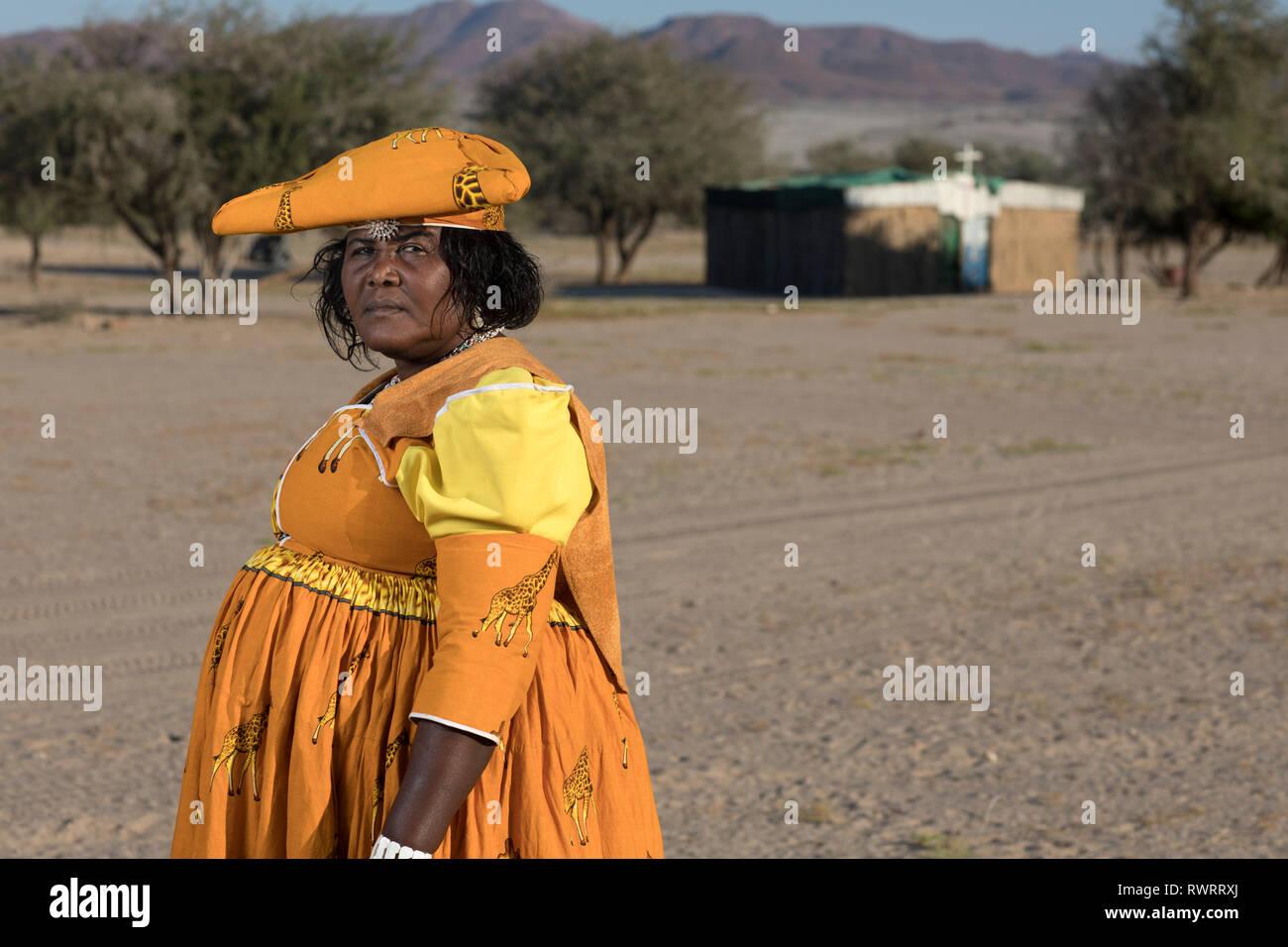 Portrait of a Herero lady taken in the Kunene Region of Namibia. - Stock Image
