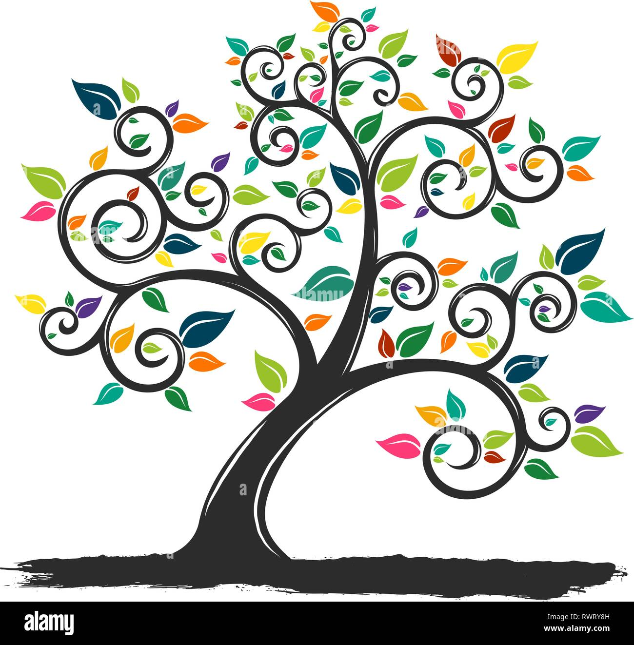 illustration of a tree with colored leaves Stock Vector