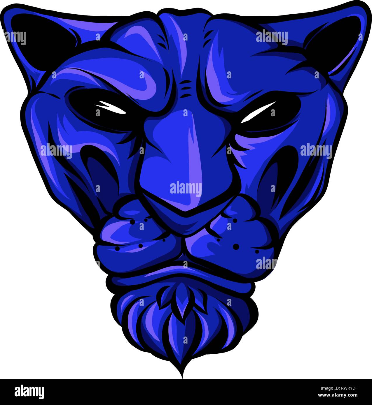 face of a drawn blue tiger illustration - Stock Vector