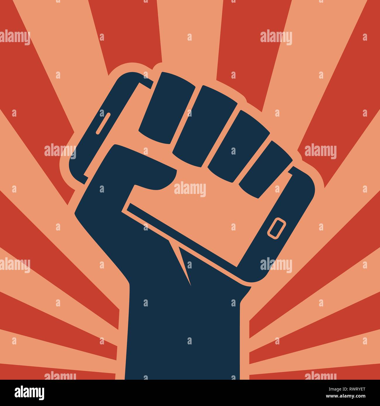 Hand holding smartphone like call to digital revolution retro style icon - Stock Vector
