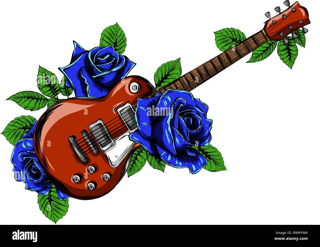 electric guitar on fire with blue flames Stock Vector