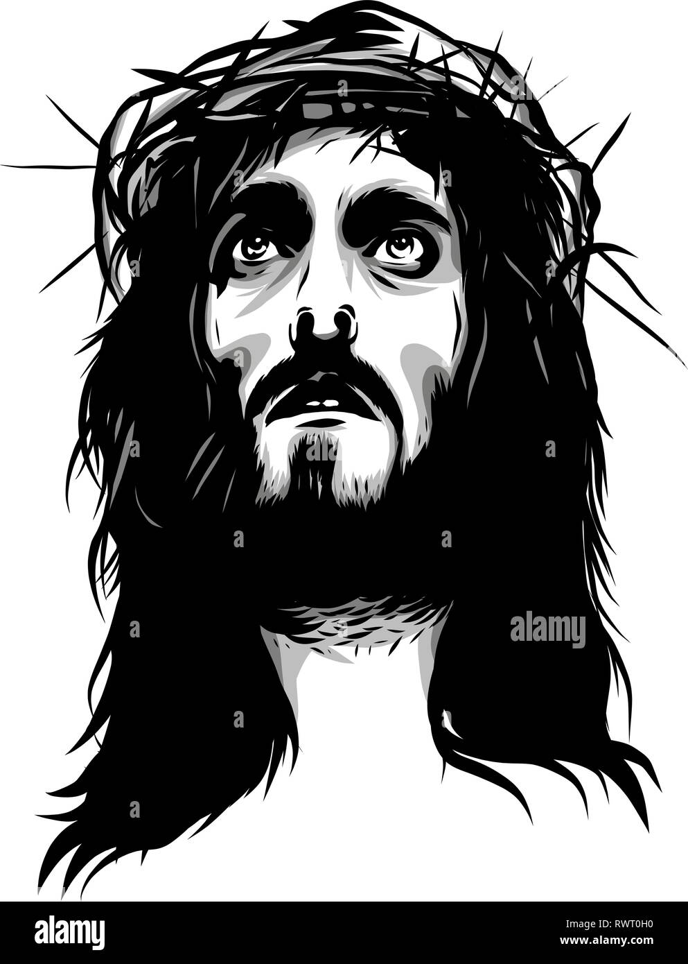 face of jesus with crown of thorns - Stock Vector