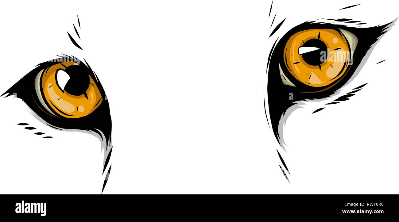 leopard Eyes Mascot Graphic in white background vector illustration - Stock Vector