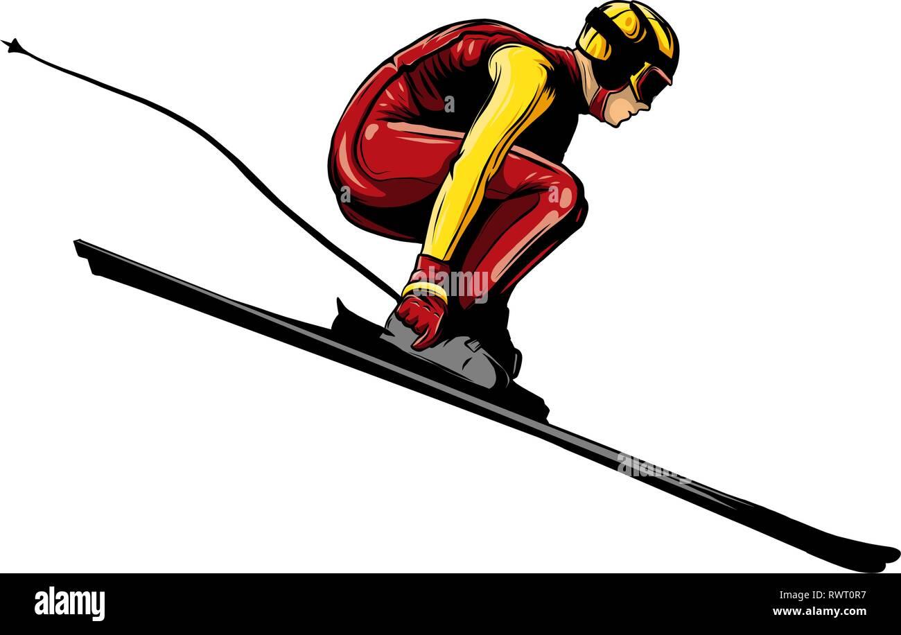 alpine skier athlete skiing downhill black silhouette - Stock Vector