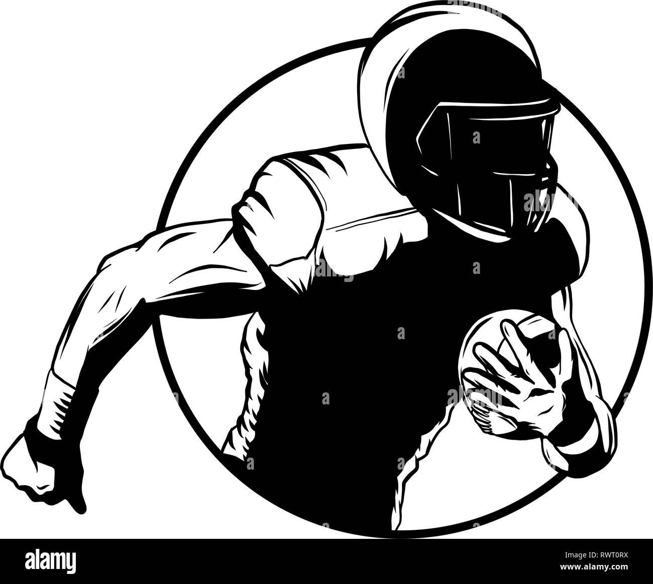 American football player. Super bowl sport theme vector illustration. - Stock Image