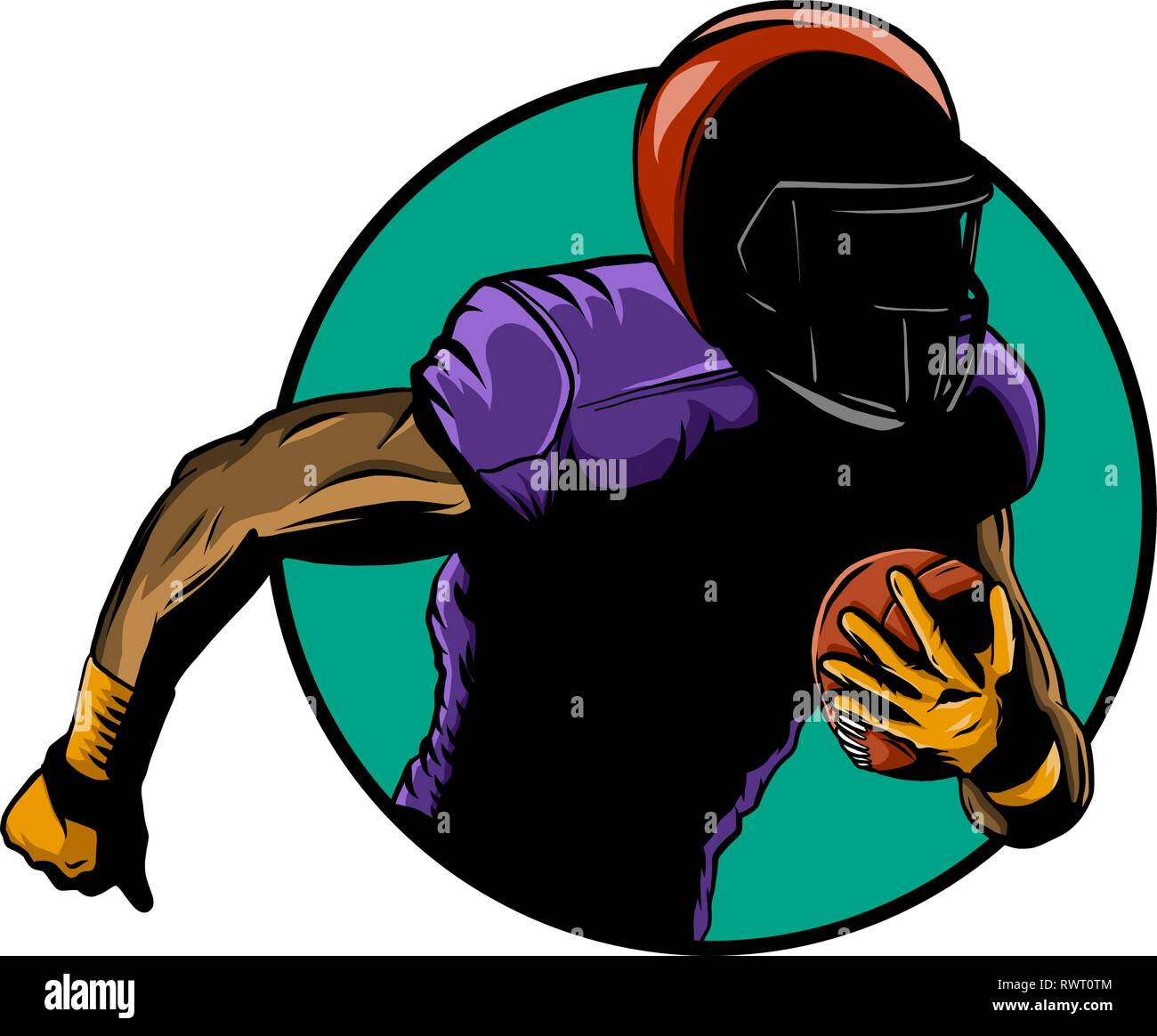 American Football Player Super Bowl Sport Theme Vector