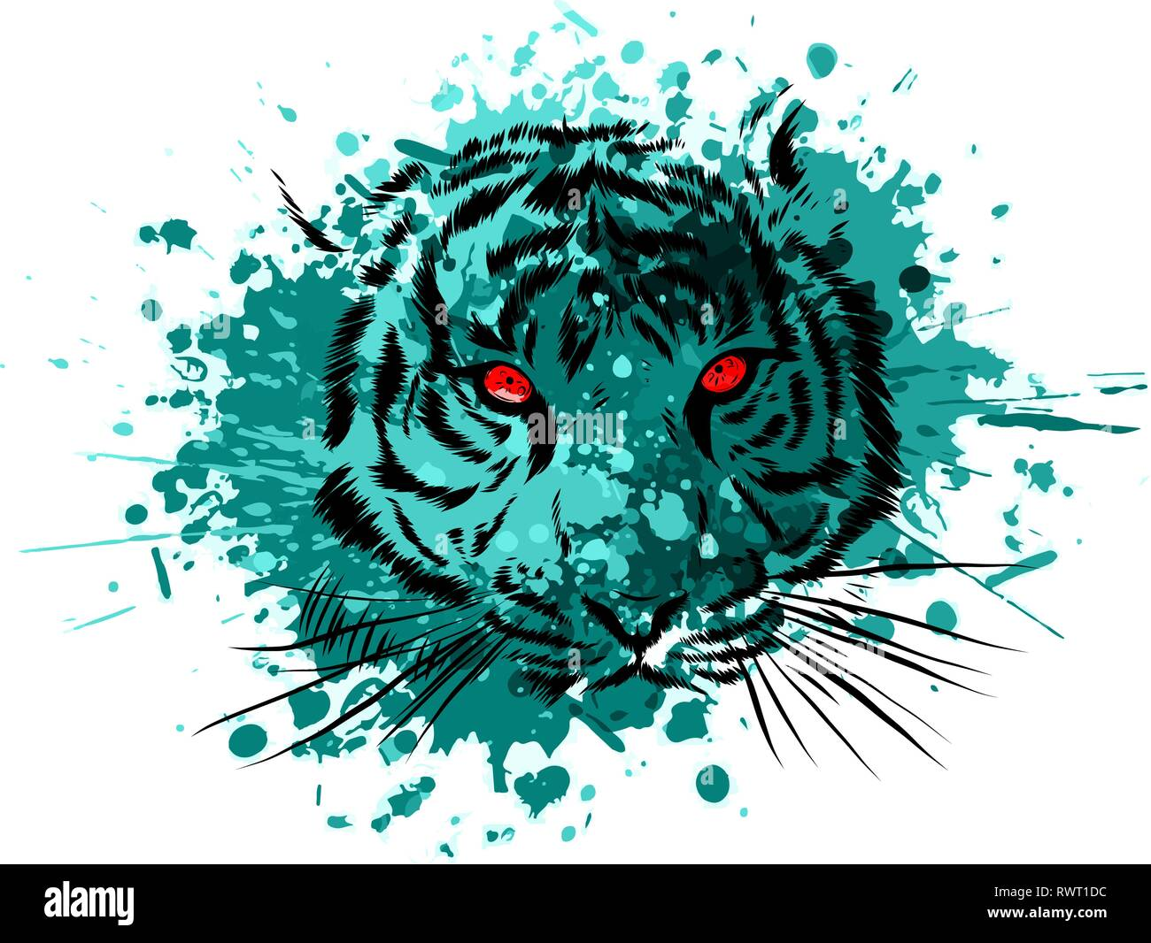 Tiger Eyes Mascot Graphic in white background - Stock Vector