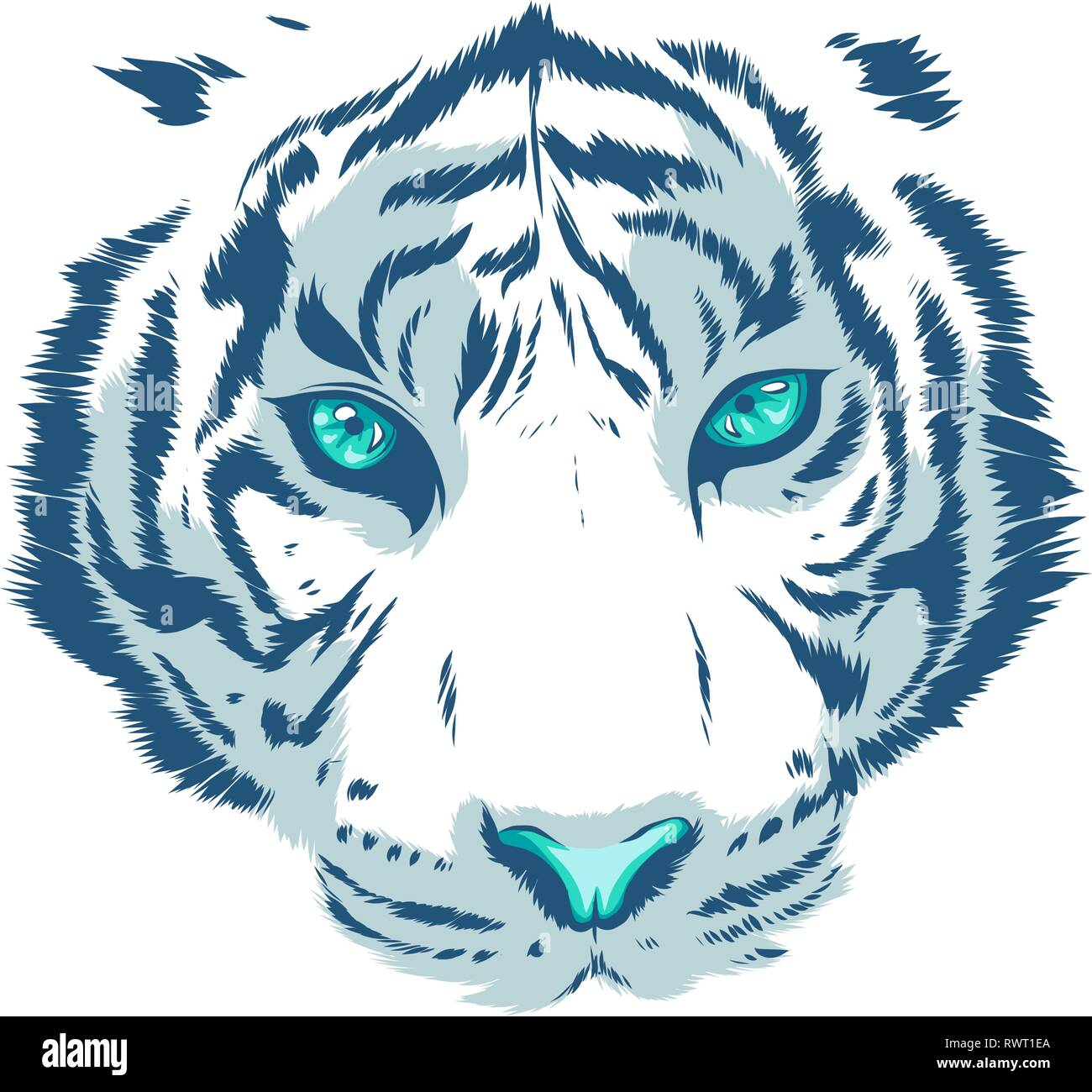 white Tiger Eyes Mascot Graphic in white background - Stock Vector
