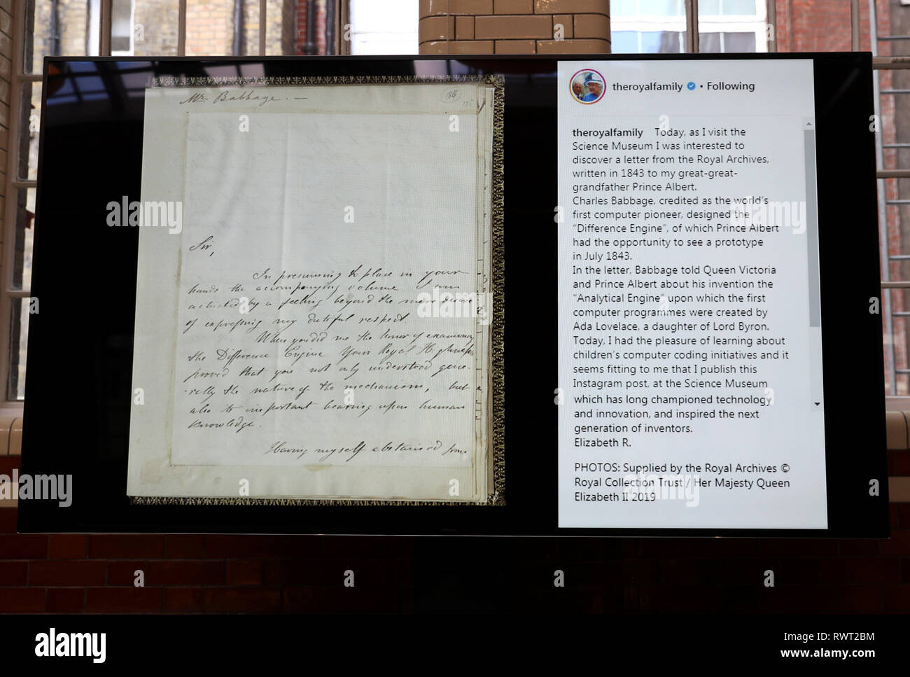 Queen Elizabeth II's first Instagram post is displayed alongside an 1843 letter to Prince Albert from Charles Babbage, which was posted to the social media site during her visit to the Science Museum for the announcement of their summer exhibition 'Top Secret' in Kensington, London. - Stock Image