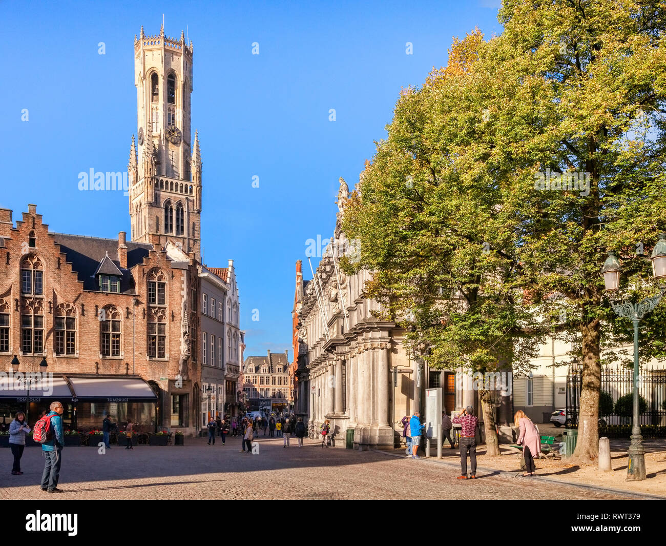 25 September 2018: Bruges, Belgium - Burg Square, looking towards the Market Square and the Belfry Tower on a sunny afternoon. Stock Photo