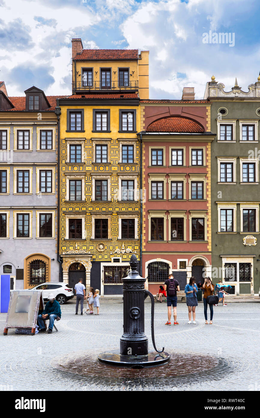 Old town square view,  Warsow, Poland, Europe - Stock Image