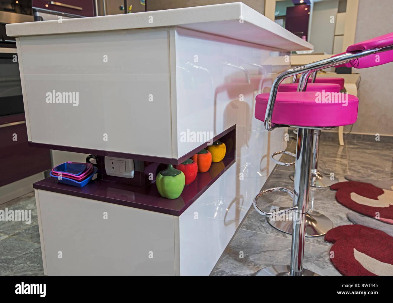Interior Design Decor Showing Modern Kitchen Counter Island Breakfast Bar In Luxury Apartment Showroom Stock Photo Alamy