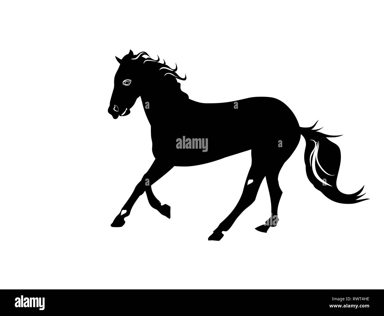 Silhouette Black And White Beautiful Arabian Horse With Developing Mane Stock Vector Image Art Alamy