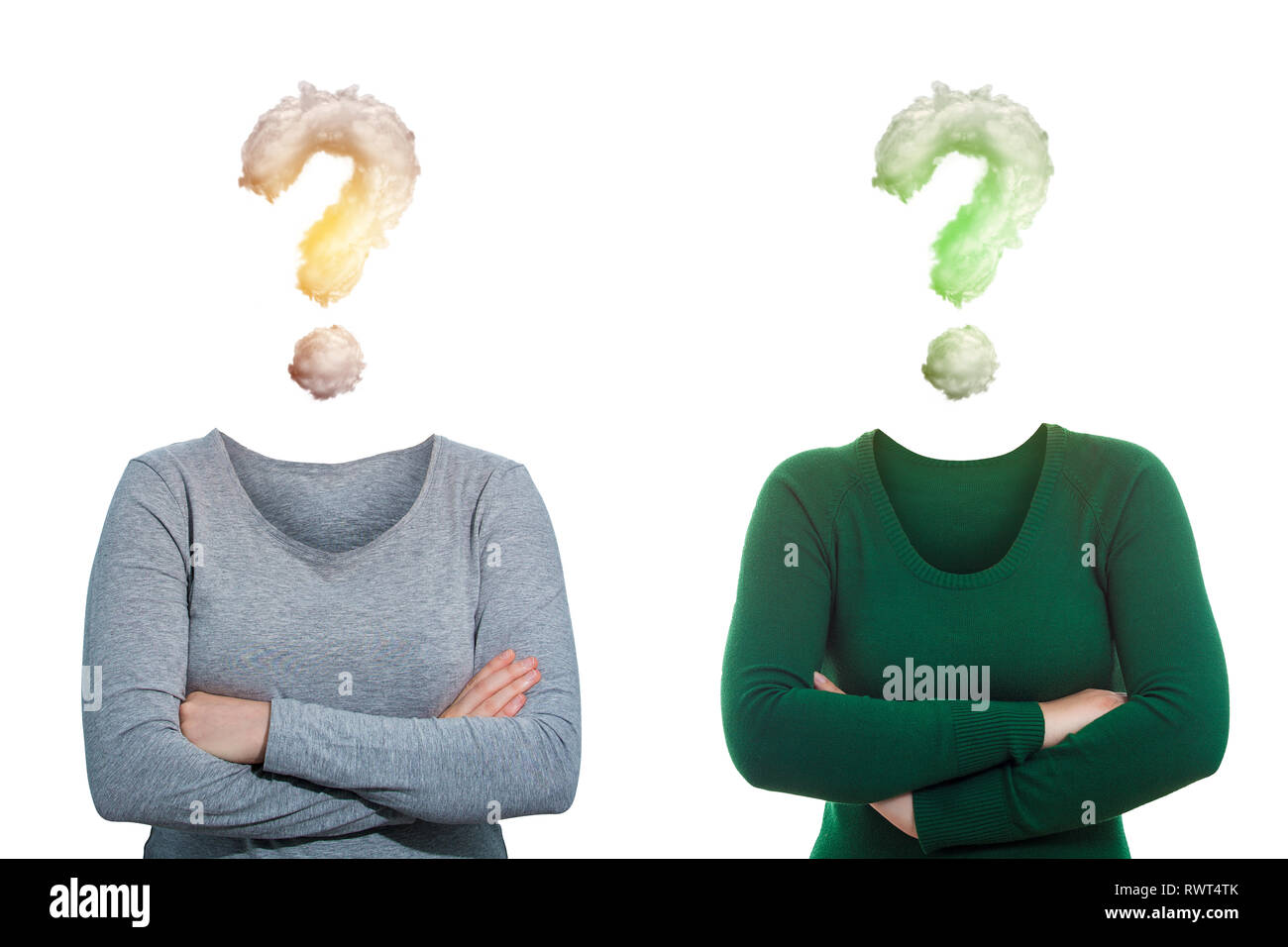 Surreal image as two women, arms crossed and invisible face has question mark clouds instead of head isolated on white. Social mask for hiding identit - Stock Image