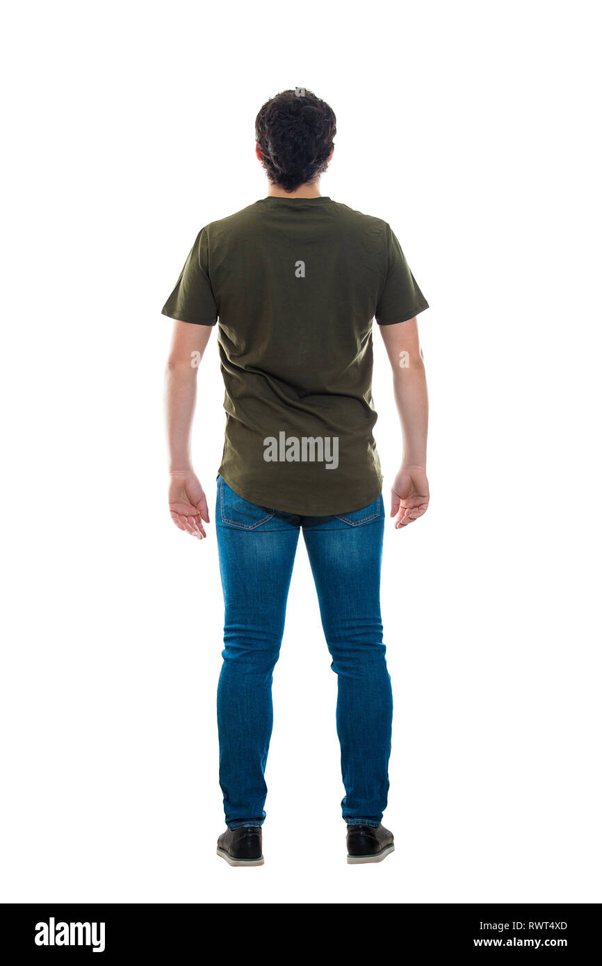 faf9241f468 Full length rear view of casual young man standing relaxed looking ahead  isolated over white background