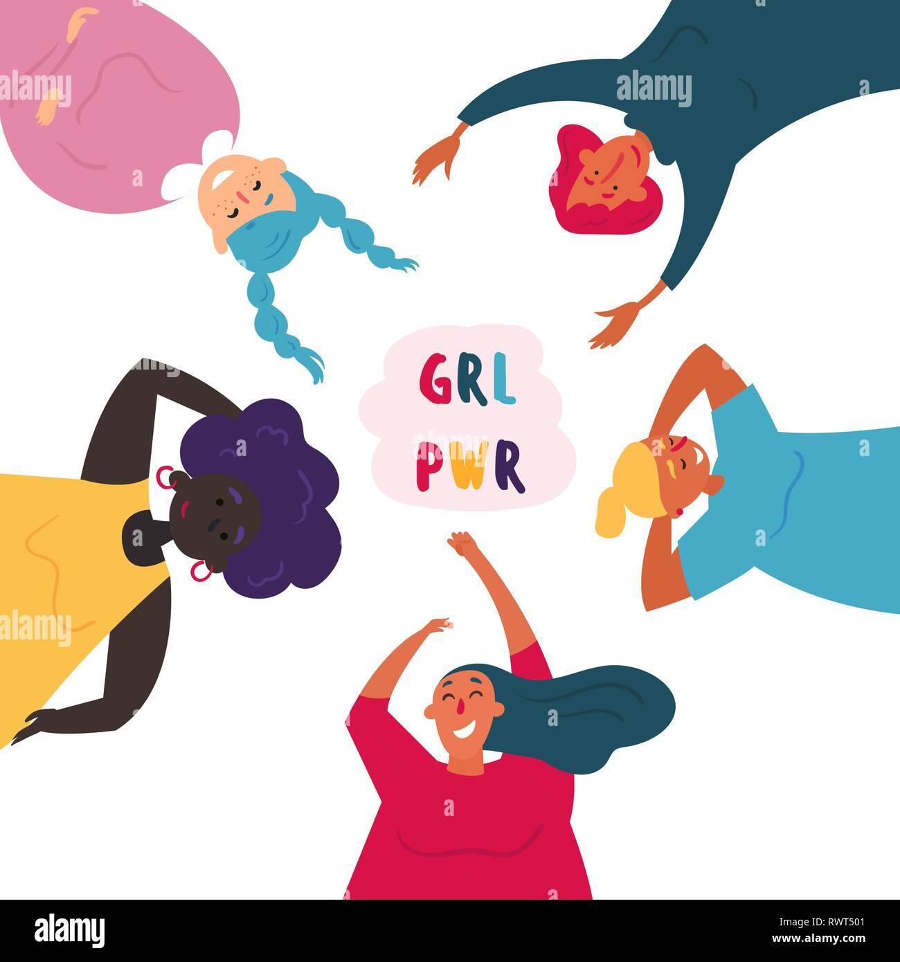 Diverse group of women. Feminine. Girl power - Stock Image