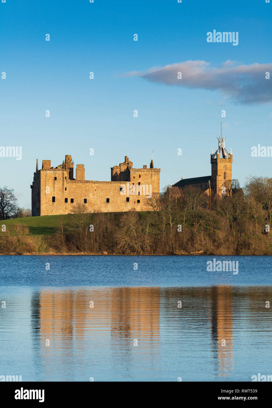 View of Linlithgow Palace in Linlithgow, West Lothian, Scotland, UK. Birthplace of Mary Queen of Scots. Stock Photo