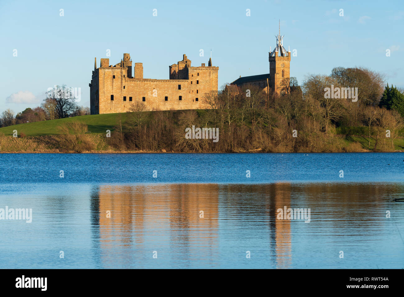 View of Linlithgow Palace in Linlithgow, West Lothian, Scotland, UK. Birthplace of Mary Queen of Scots. - Stock Image