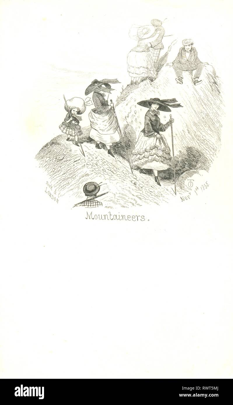 Malvern writing paper titled Mountaineers by artist Thomas Onwyn 1855 - Stock Image