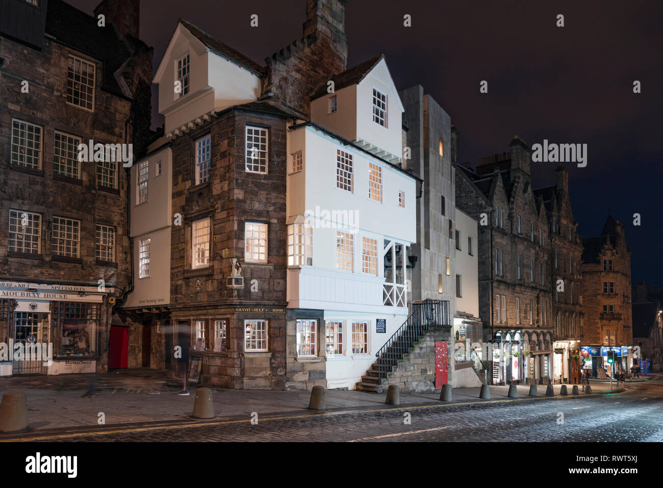 Night view of John Knox house on the Royal Mile in Edinburgh Old Town, Scotland, UK Stock Photo