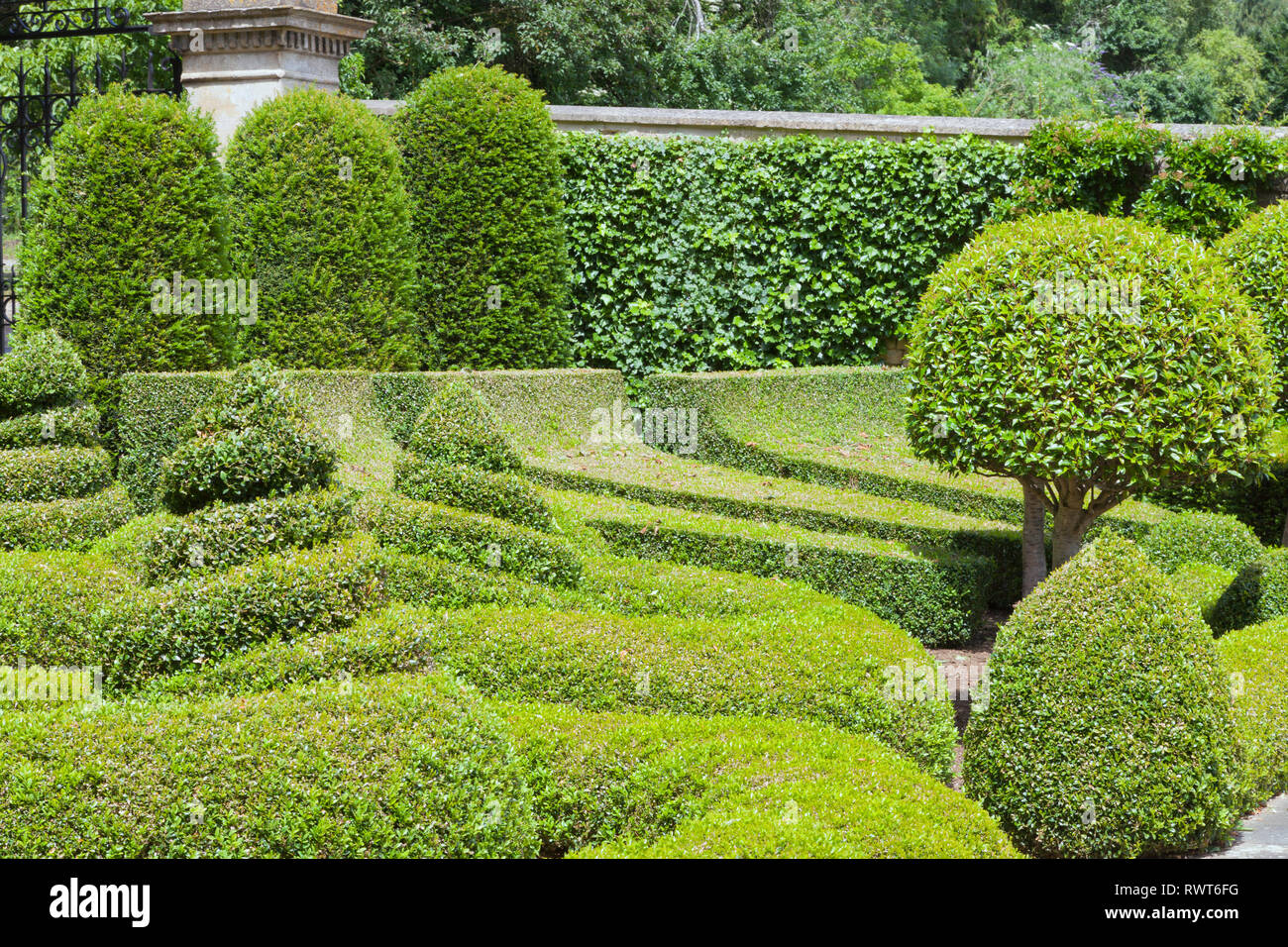 Topiary Garden With Trimmed Hedge Designed Bushes In Different