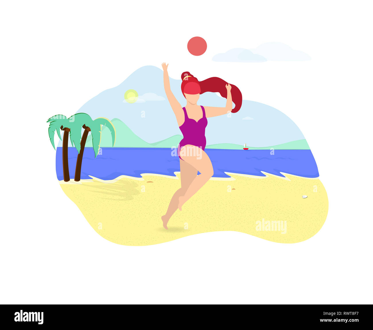 Young Beautiful Girl with Long Ginger Hair Playing with Ball on Beach. Woman in Purple Swimsuit Jumping. Valleyball Player, Body Positive, Healthy Lif - Stock Image