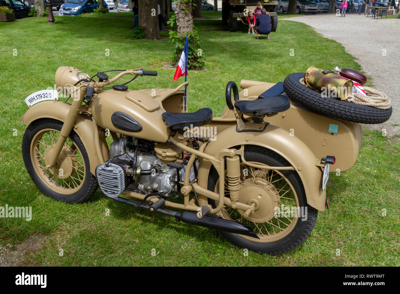 German World War Two motorcycle with sidecar (Bmw R75) in Sainte-Marie-du-Mont, Normandy, Manche, France, in June 2014. Stock Photo