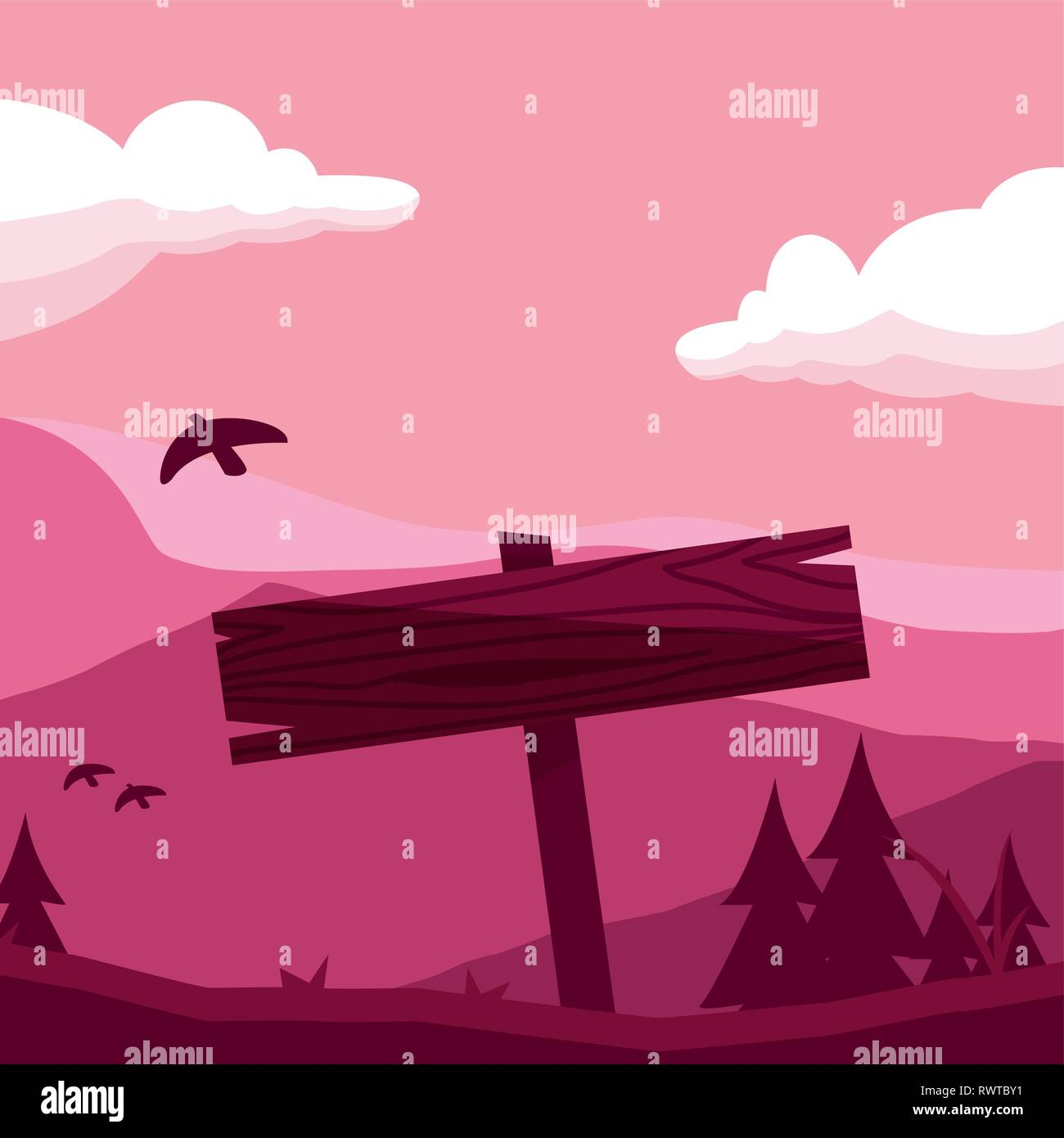rustic wooden label in the landscape with bird vector illustration design - Stock Vector