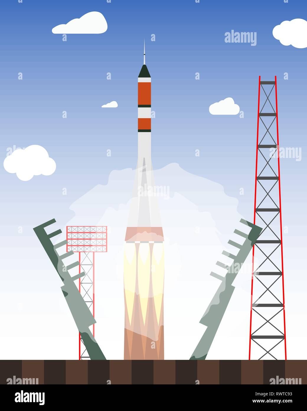 Start rocket from the spaceport. Launch raekty in space. Vector illustration - Stock Image