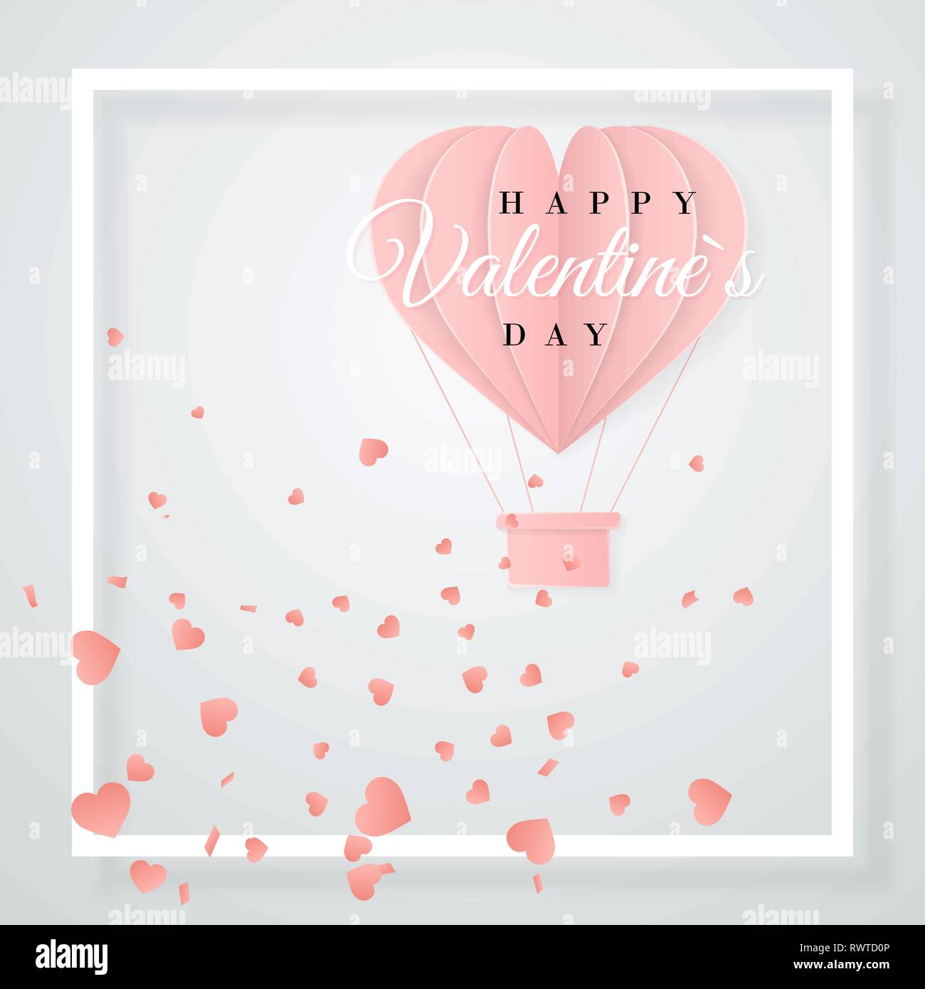 Happy valentines day origami style hearts banner Vector Image | 1390x1300