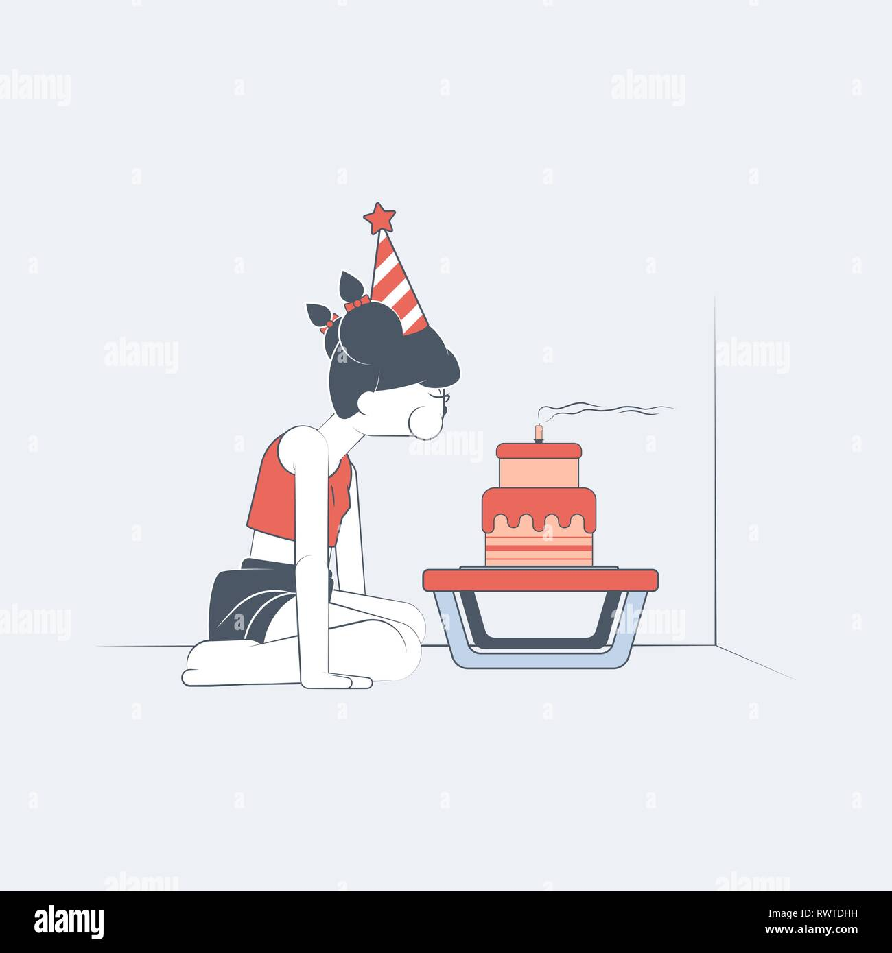 Sad female teenager alone in a room blowing a birthday candle in vector flat-design illustration style. - Stock Vector
