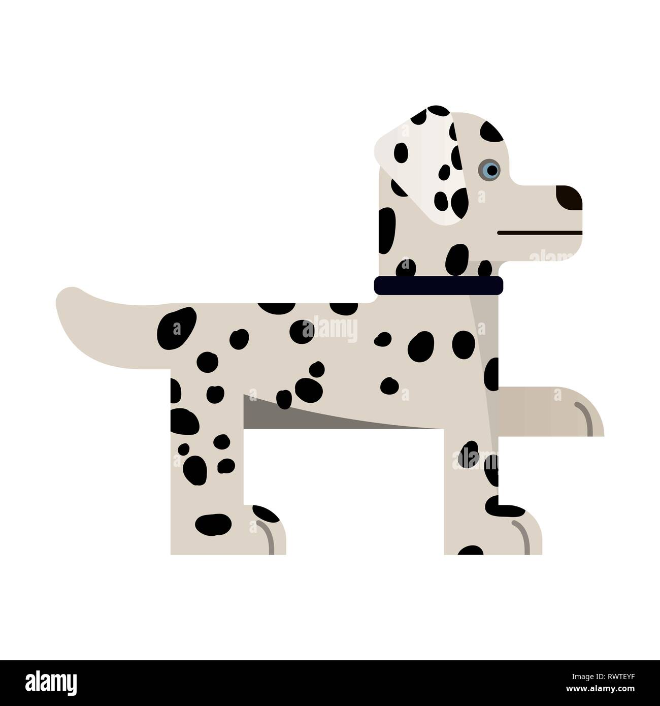 Dalmatian stand. Purebred dog gives a paw. Vector illustration. Flat icon. Stock Vector