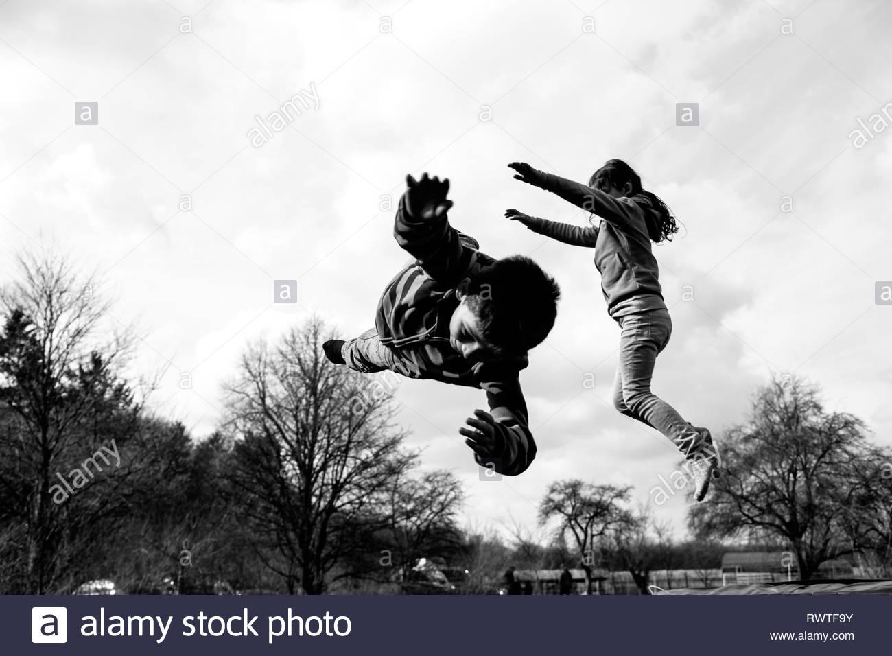 Kids Trampoline, joy - Stock Image