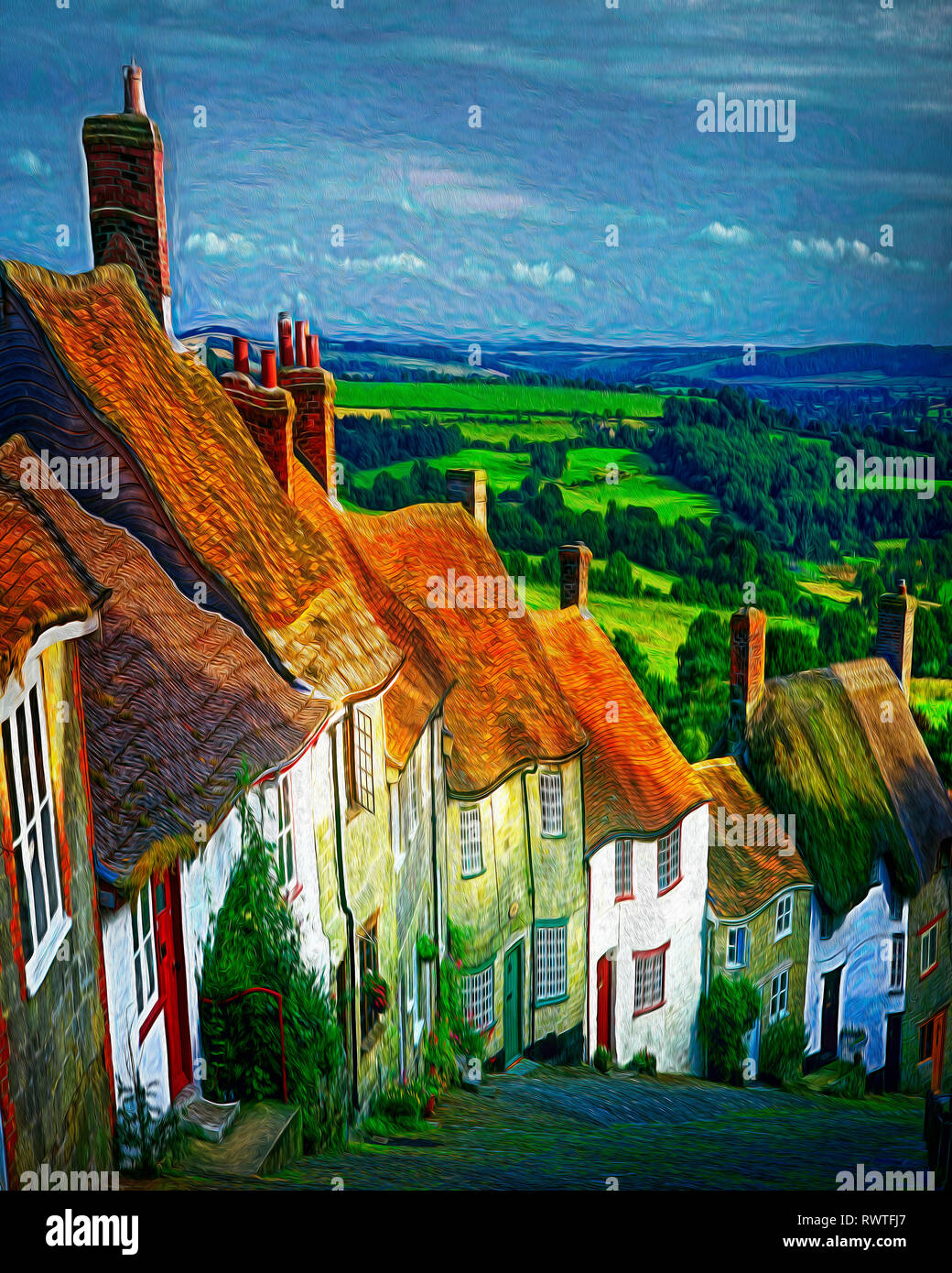 DIGITAL ART: Gold Hill at Shaftesbury, Dorset, Great Britain - Stock Image
