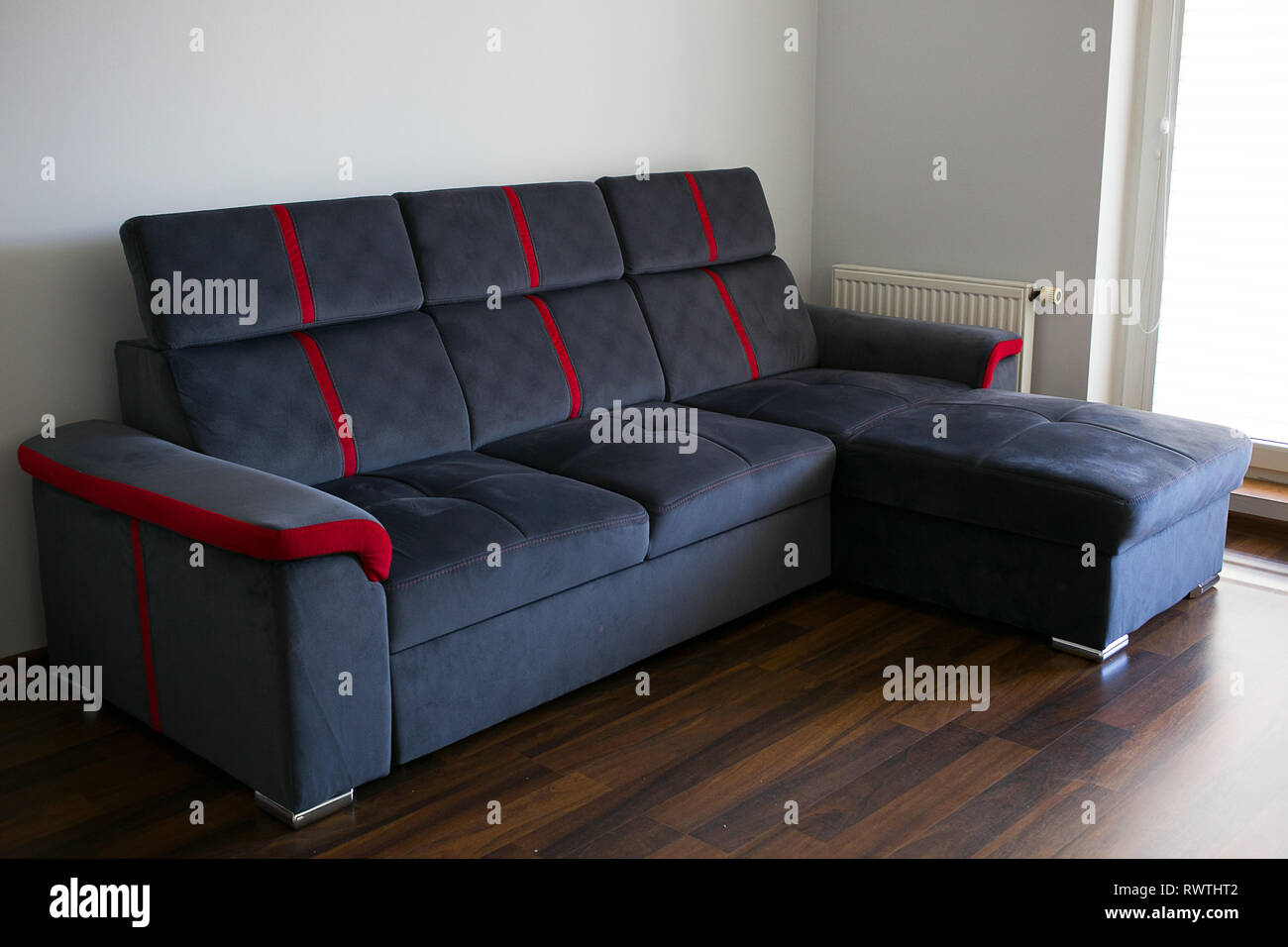 Contemporary Simple Dark Blue Corner Couch Sofa With A